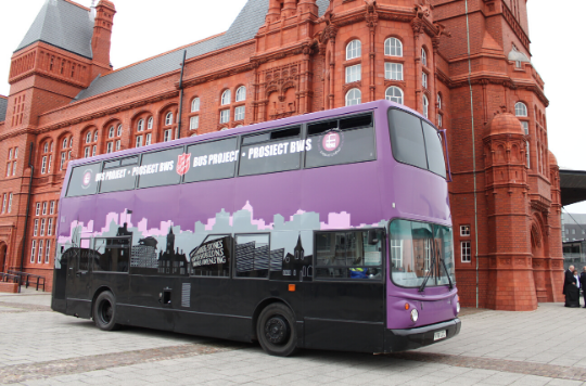 Salvation Army purple bus homelessness service