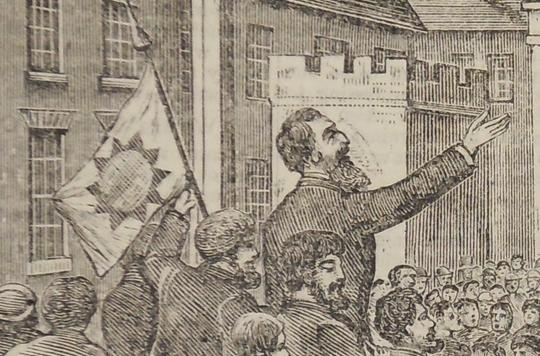 Illustration of William Booth beside a Salvation Army flag