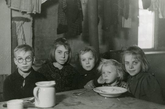 Children assisted by Salvation Army post-war relief workers