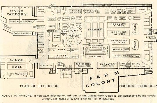 Floor plan of Salvation Army Exhibition at the Agricultural Hall