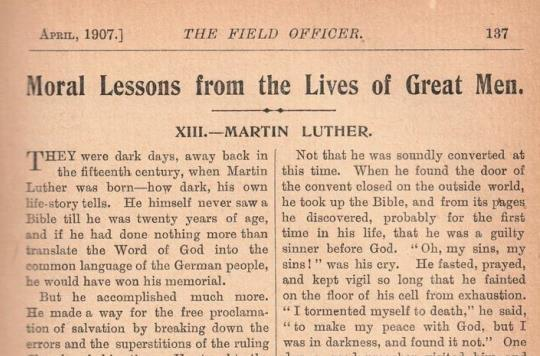 Article from 'The Officer' magazine about Martin Luther