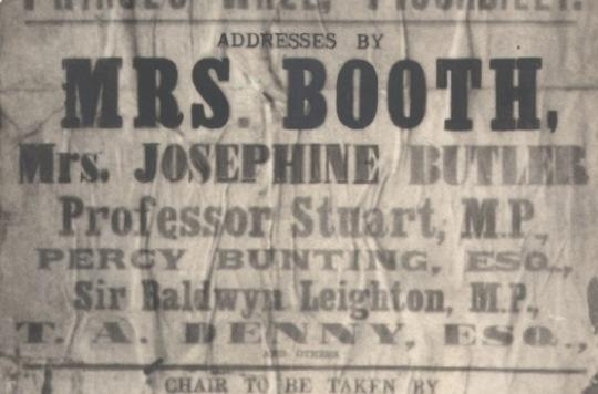 Poster advertising speeches by Mrs Booth and Josephine Butler