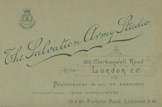 Reverse of a cabinet card with details of The Salvation Army Photographic Studio