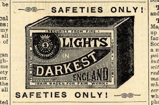 Illustration of 'Lights in Darkest England' matchbox