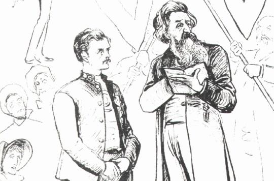 Illustration of William Booth and Henry Edmonds at Edmonds' wedding