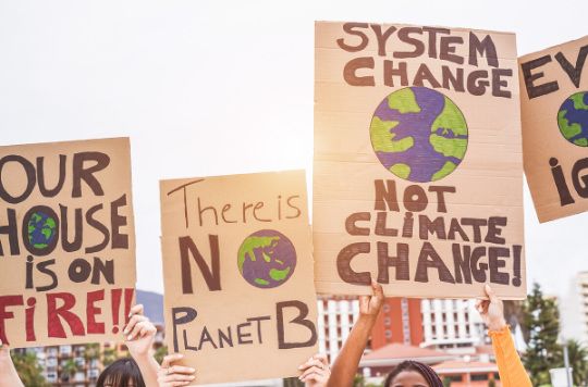 A stock photo of cardboard placards on climate change protest