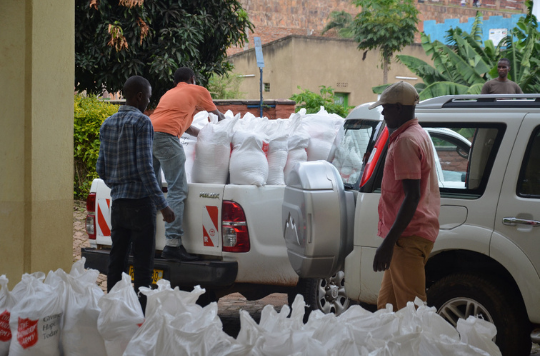 Supplies being delivered in Rwanda