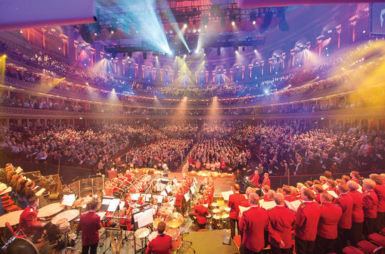 Salvation Army carol singers performing at The Royal Albert Hall previously