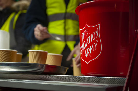 Salvation Army van at Trafalgar Square Christmas Tree Light switch on 2019