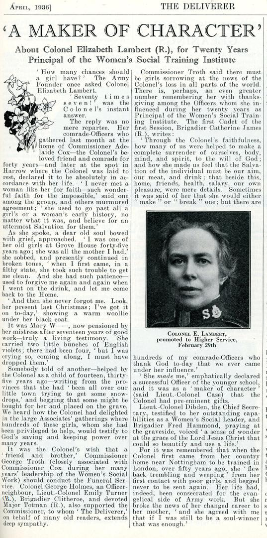 Elizabeth Lambert newspaper clipping