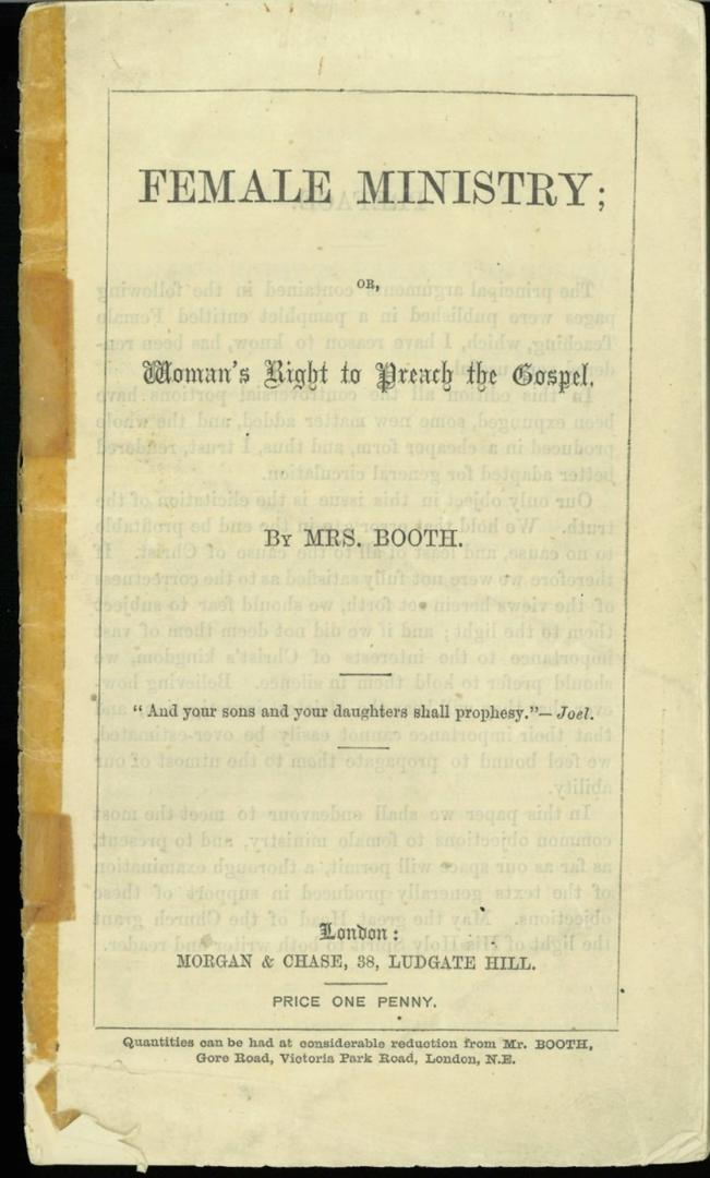 Female Ministry; Women's Right to Preach the Gospel – Catherine Booth, 1870