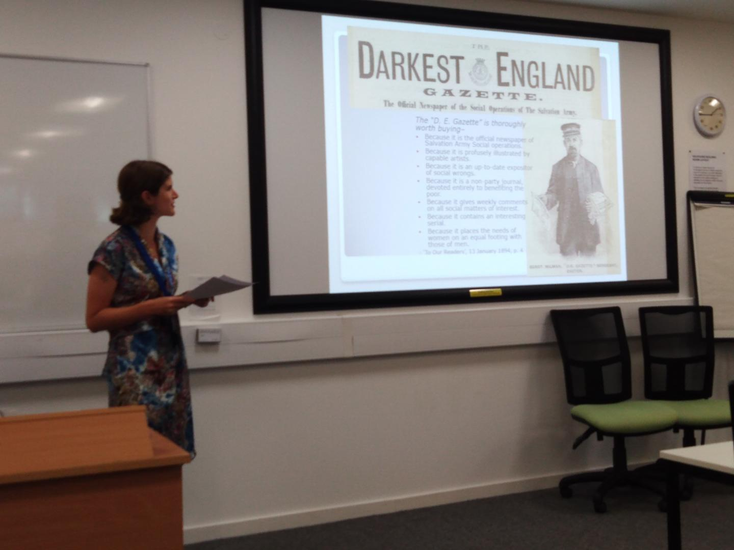 Dr Flore Janssen presenting her paper 'New Approaches to the Salvation Army Social Work: the Digital Darkest England Gazette, 1893-94', BAVS Conference, 2019