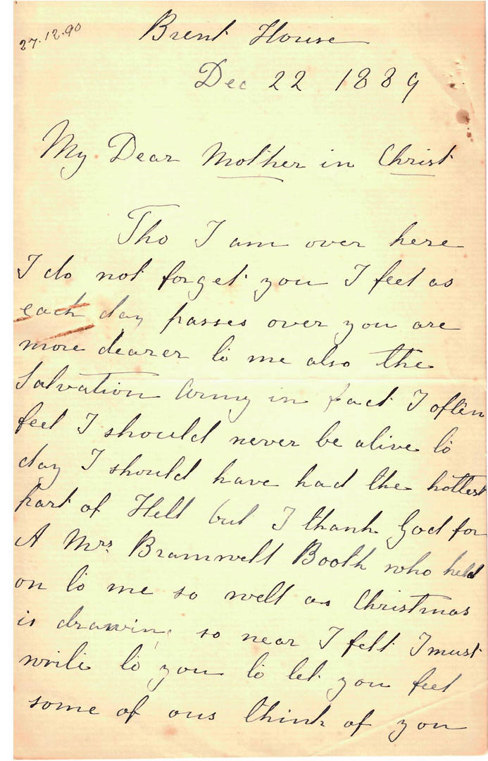 Letter from Rebecca Jarrett to Florence Booth