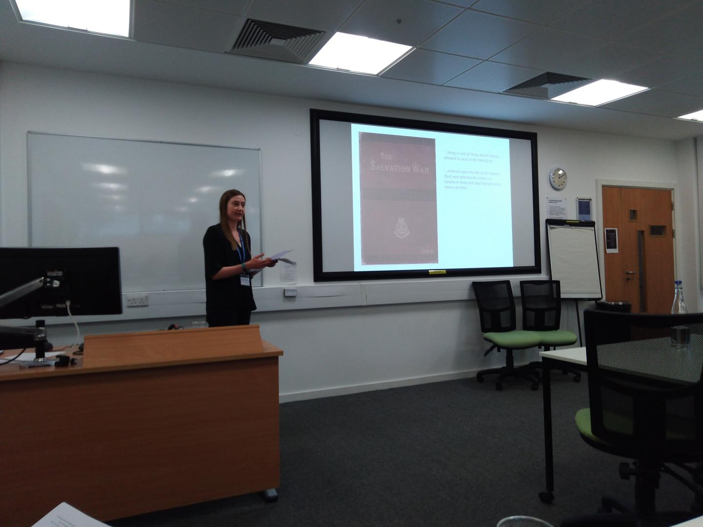 "Ruth Macdonald presenting her paper 'Rescuing the ""Fallen"" Woman by Revisiting the Archives', BAVS Conference, 2019"