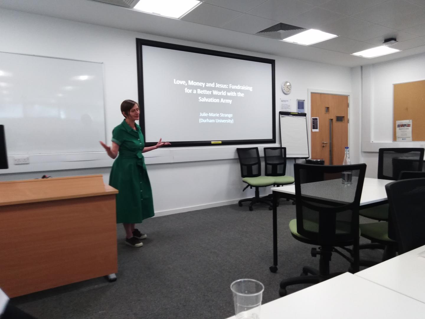 Julie-Marie Strange presenting her paper  'Love, Money and Jesus: Fundraising for a Better World with the Salvation Army', BAVS Conference, 2019