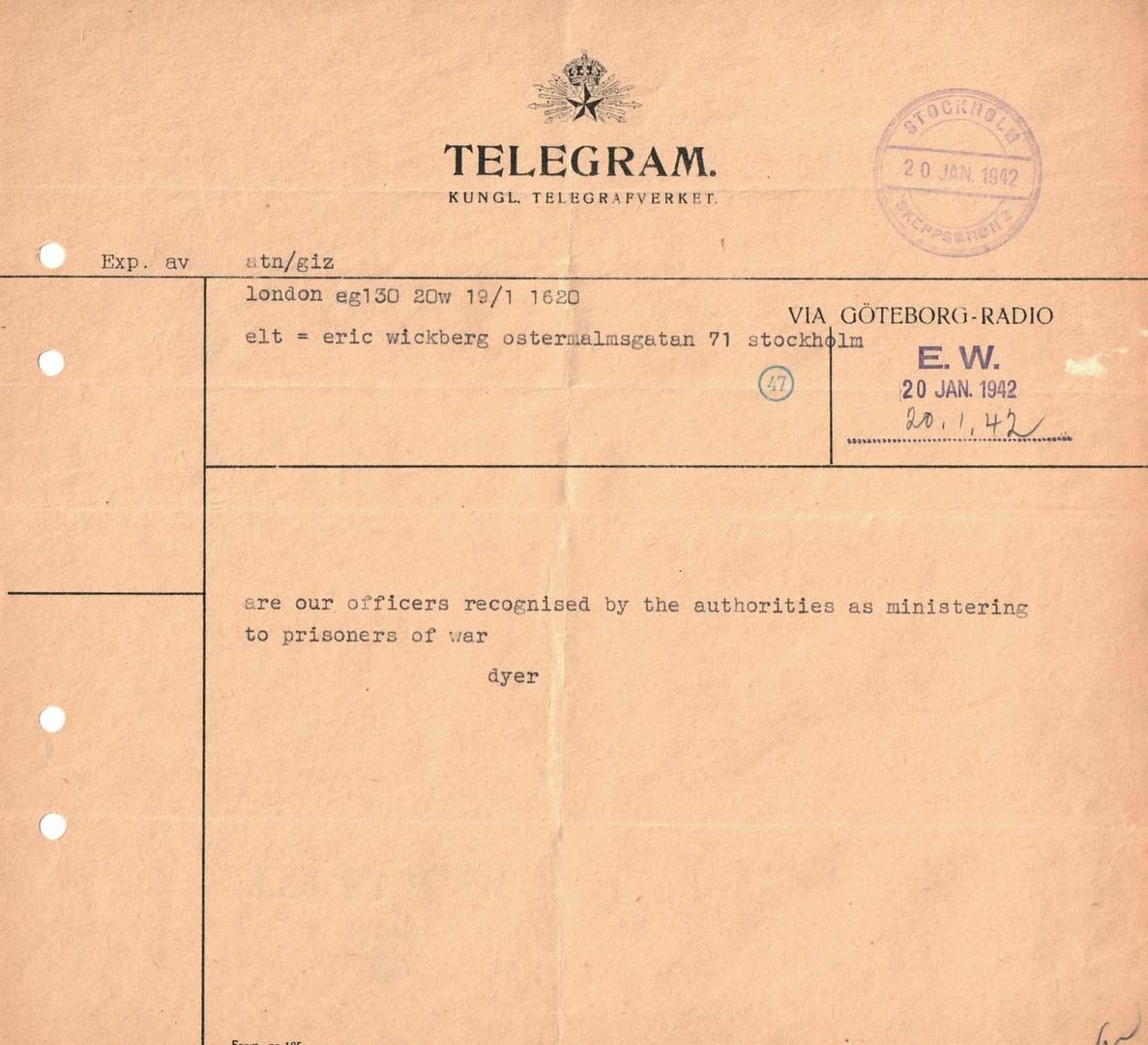 Telegram from Commissioner Frank Dyer to Major Erick Wickberg