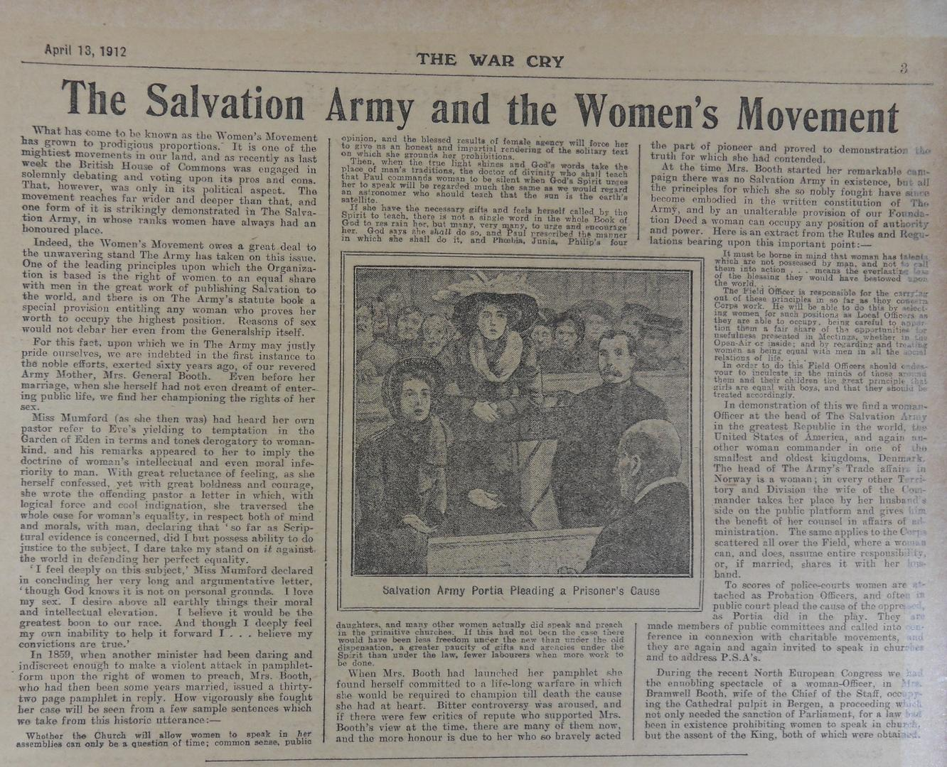 The Salvation Army and the Women's Movement', The War Cry, 13 April 1912