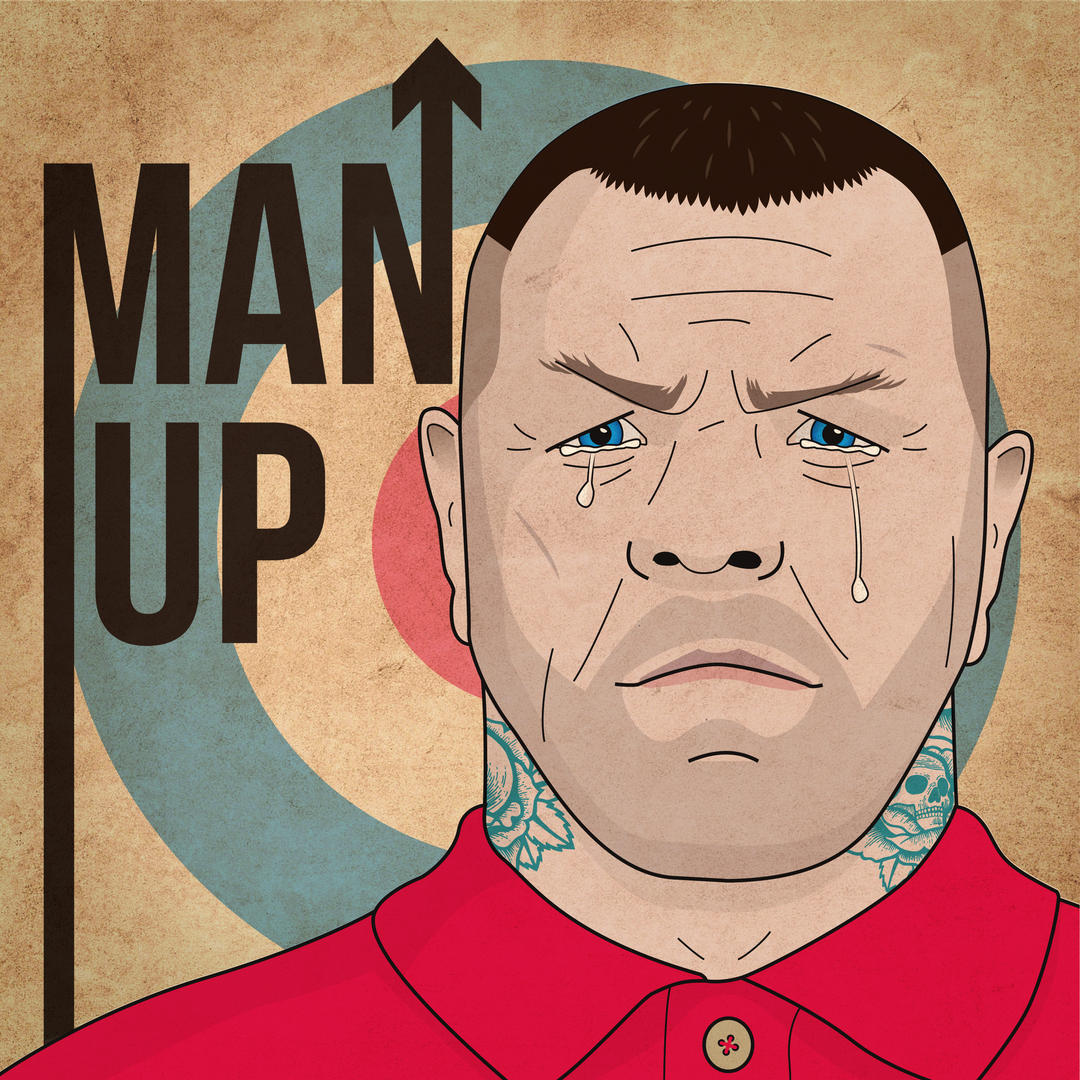 Upbeat track01 artwork - Title 'Man up' with image of stereotypically masculine man with close-shaved hair who is crying