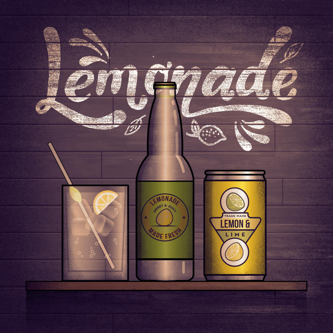 Upbeat track03 artwork - Title 'Lemonade' with stylised design of a glass, lemonade bottle and metal can against a dark wall.