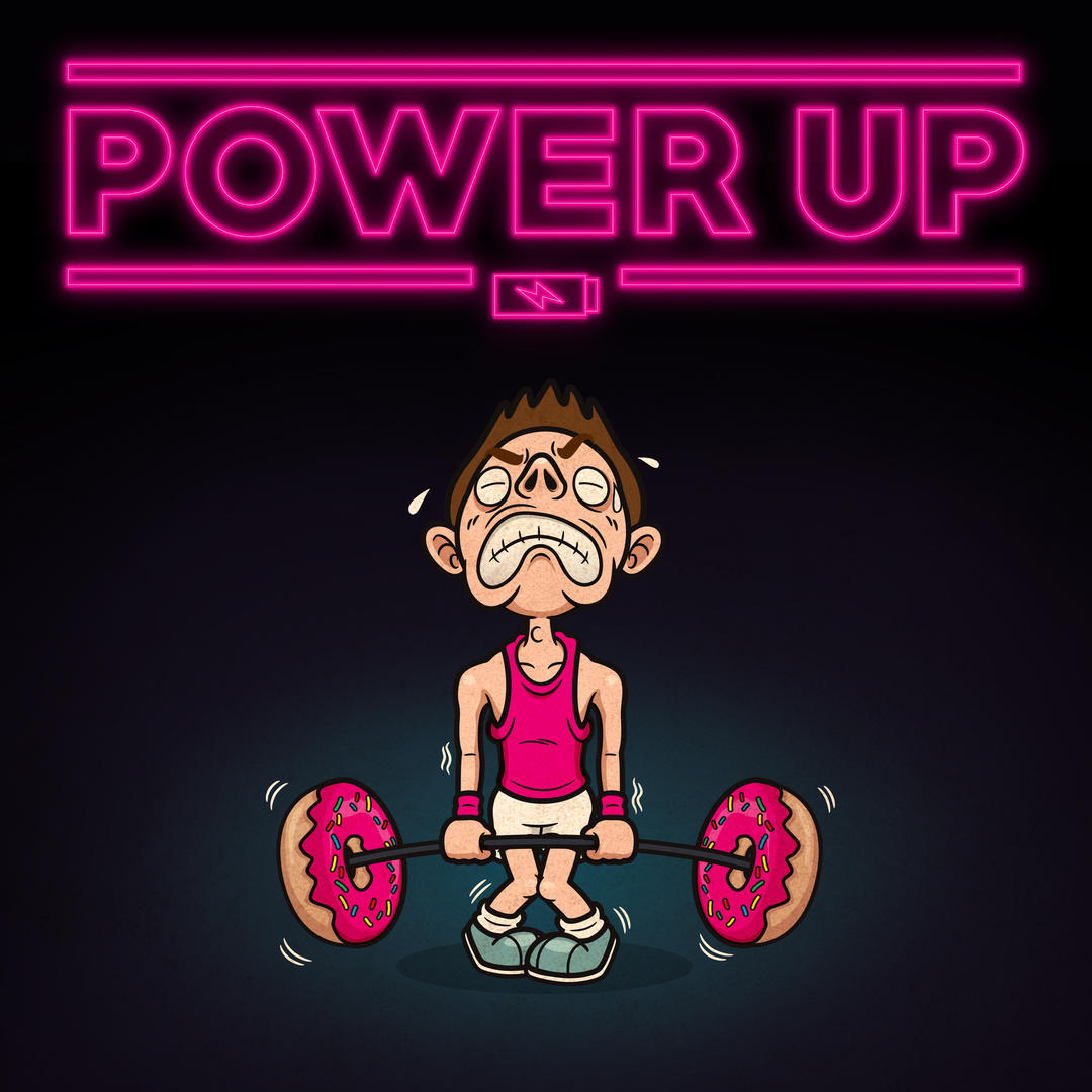 Upbeat track04 artwork - Title 'Power up' with illustrated image of a guy in gym clothes straining to pick up a barbell of weights (which are actually doughnuts)