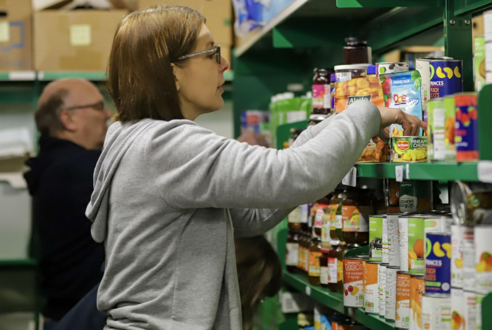 Woman at foodbank