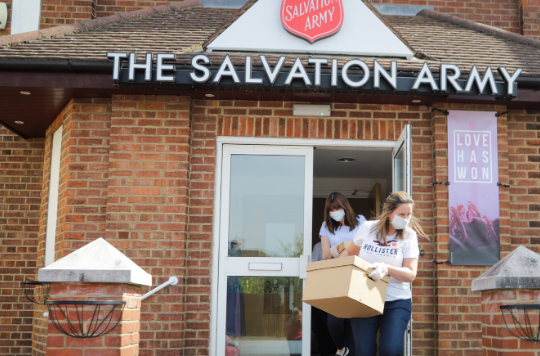 Salvation Army volunteers deliver food parcels