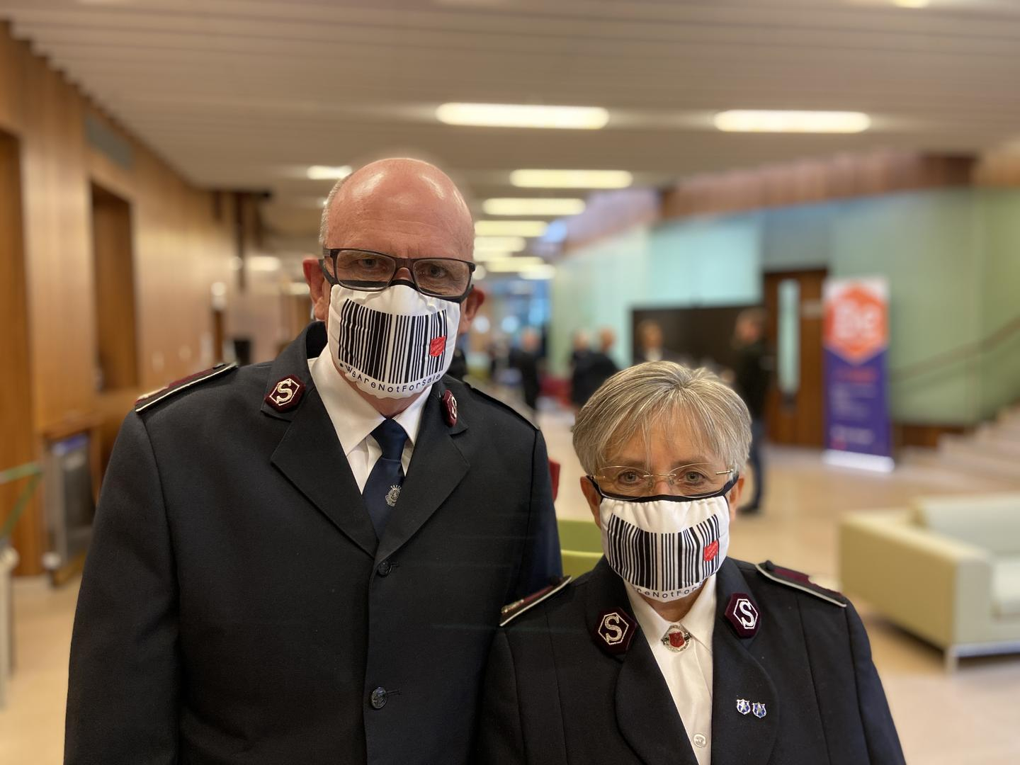 Territorial leaders wearing the #WeAreNotForSale face masks
