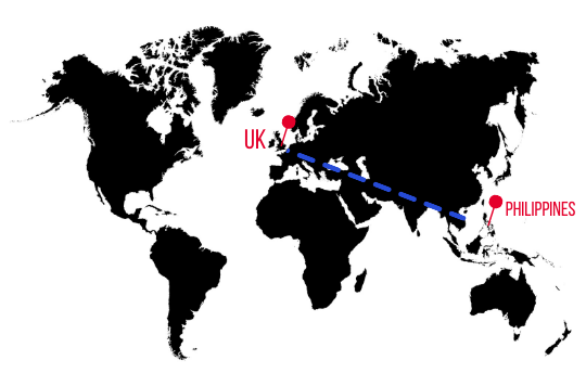 World map highlighting UK and Philippines